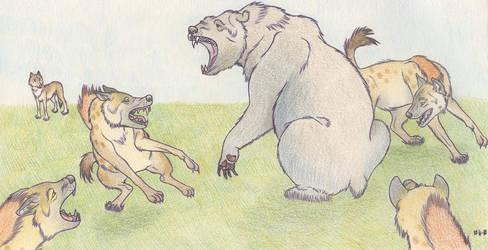 Cave bear and cave hyenas by Dark-Hyena