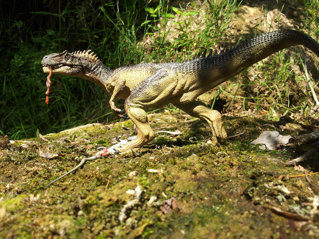 Papo Allosaurus  with wall lizard in Rovereto by Dark-Hyena