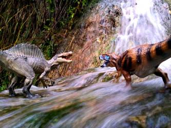 Papo Spinosaurus vs CollectA Carcharodontosaurus by Dark-Hyena