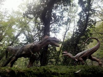 Papo Allosaurus vs Dilophosaurus in Rovereto by Dark-Hyena