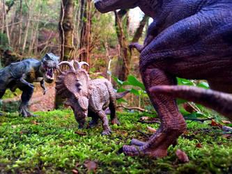 Papo Pachyrhinosaurus vs Tyrannosauruses by Dark-Hyena