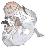 Grey Wolf vs Spotted Hyena V.2 by Dark-Hyena