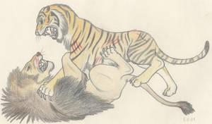 Barbary Lion vs Caspian Tiger by Dark-Hyena
