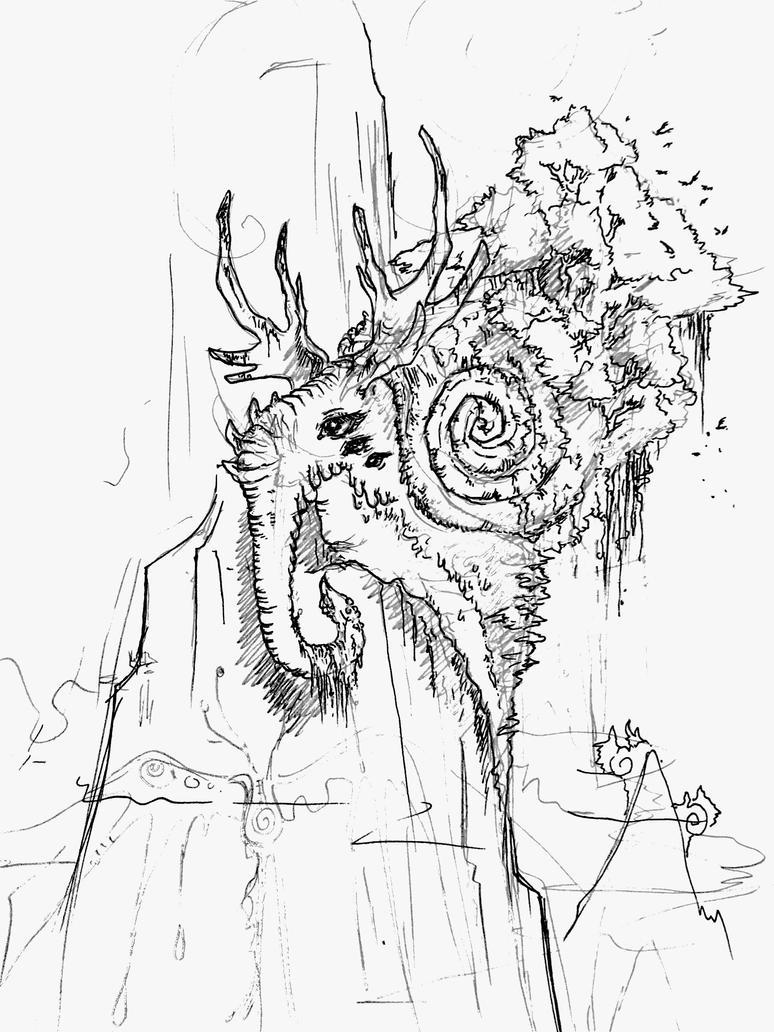 strange mountain elephant moose snail ? by RavenBlackCrow
