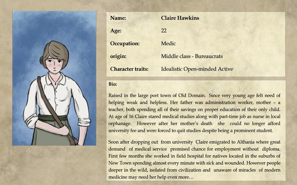 Expedition 1883:  Claire Hawkins Bio by pakomako