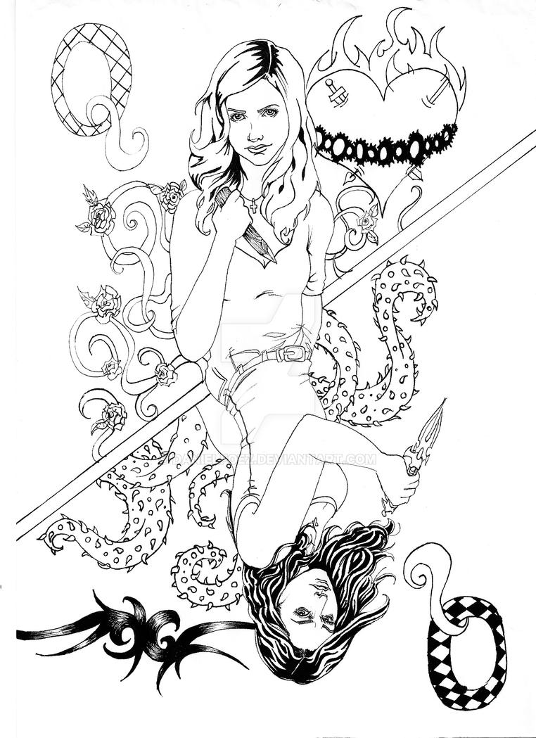 buffy coloring pages buffy faith queen of slayers by danielfoez on deviantart