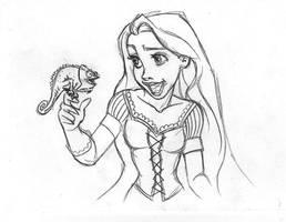 rapunzel pascal sketch by danielfoez