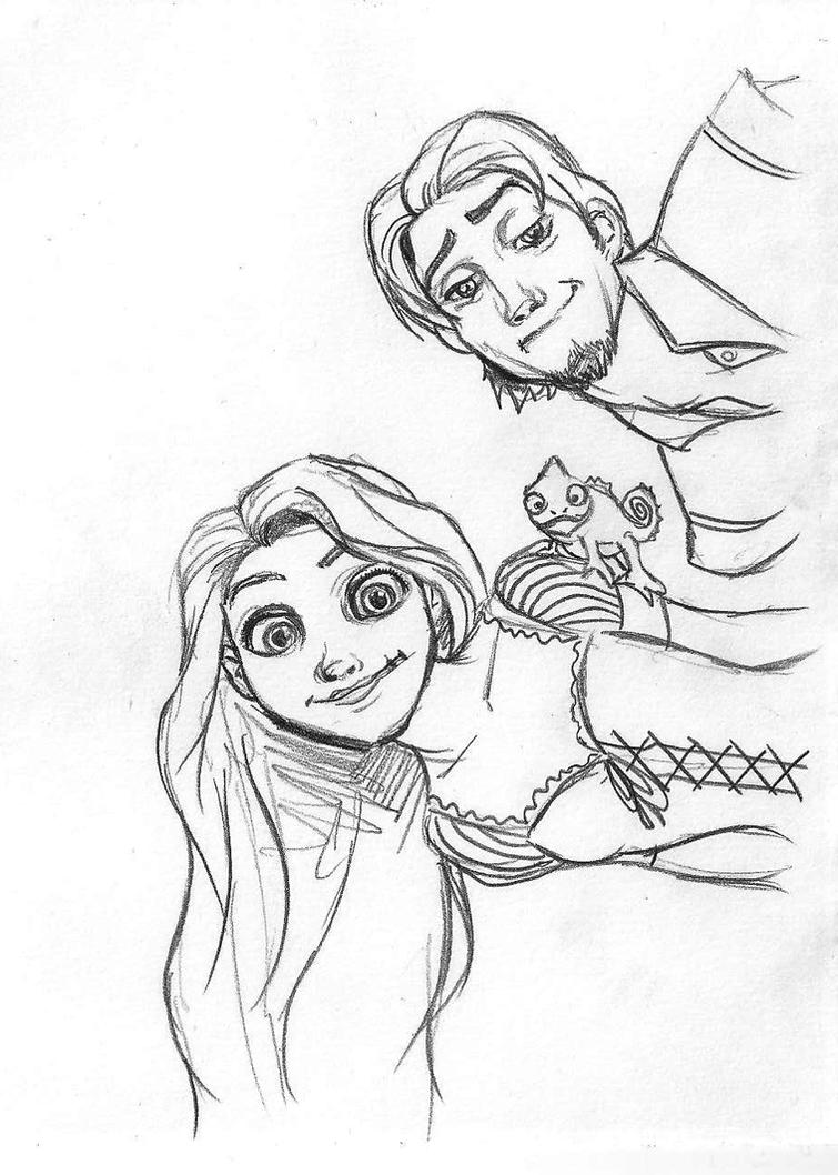 rapunzel, flynn and pascal by danielfoez on DeviantArt for tangled rapunzel and flynn drawing  585eri