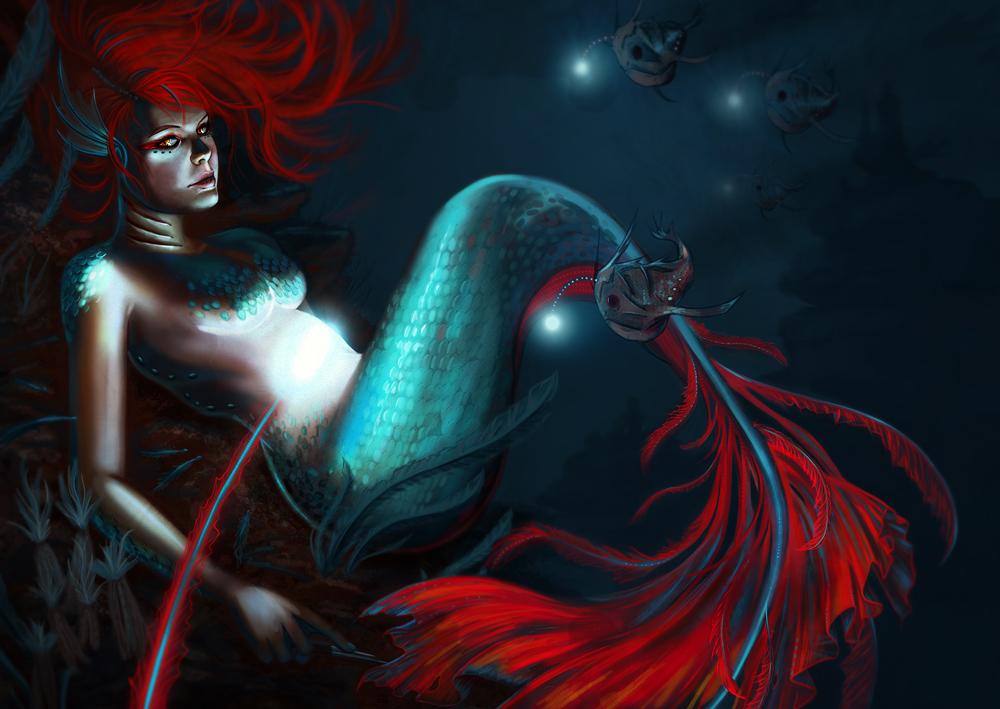 mermaid fabric wallpaper amp gift wrap  Spoonflower