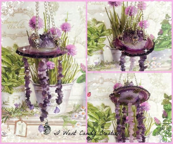 HANDMADE - Amethyst and  Agata Wind Chimes by IWantCandyCreation