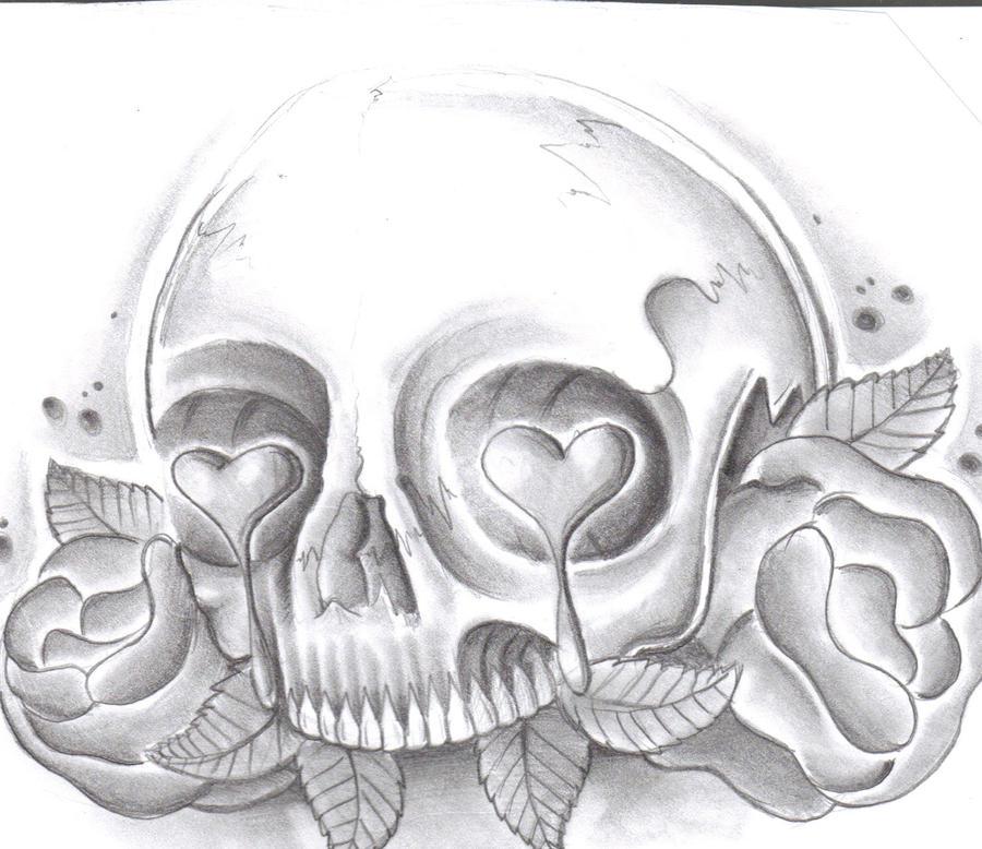 skull n roses in pencil by jonnymistfit on deviantart