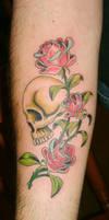 skully rose flash tattoo