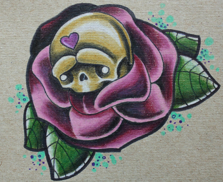 Cute Skulls And Roses Wallpaper Cute Skull Nested in a Rose by