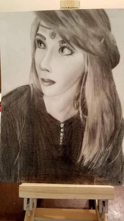 self portrait in charcoal by Oechslein