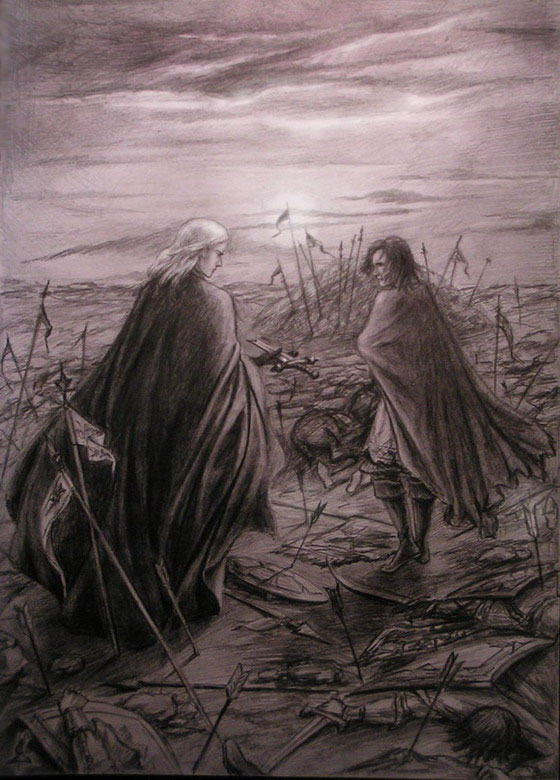 Melkor and Hurin by edarlein