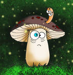Lonely Mushroom In Fairy Forest