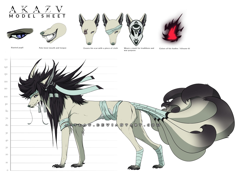 Akazu - Model Sheet - Kitsune form by Autlaw on DeviantArt
