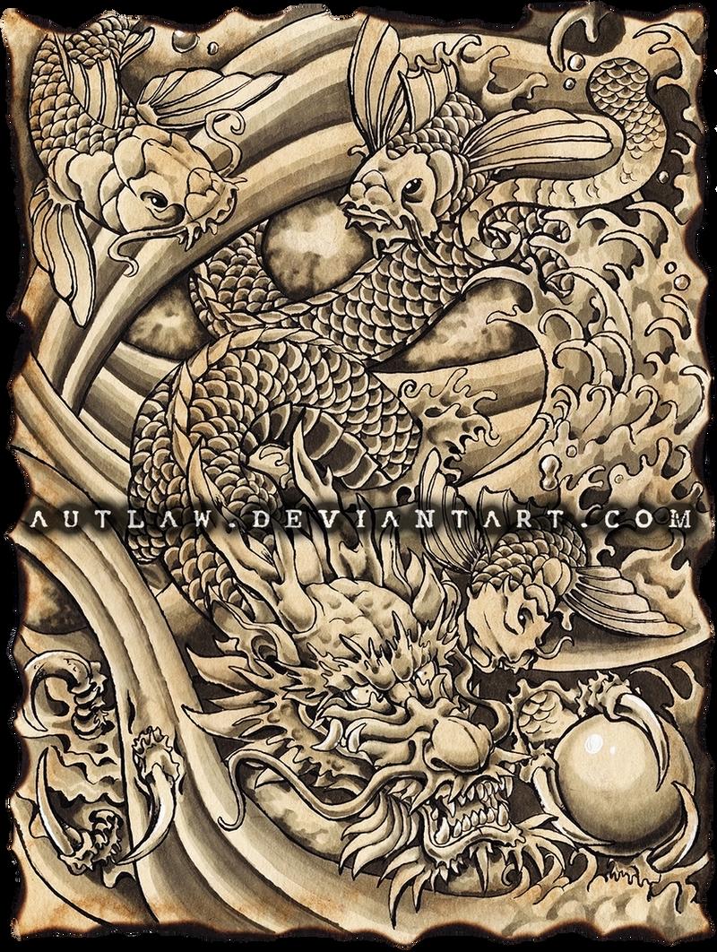 Japanese dragon and koi by autlaw on deviantart for Japanese koi dragon