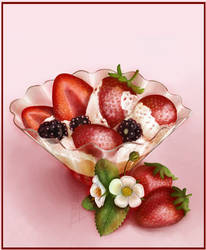 Strawberry with cream by SaisonRomantique