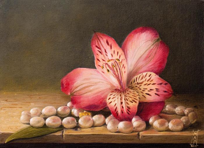 Alstroemeria and pearls by SaisonRomantique