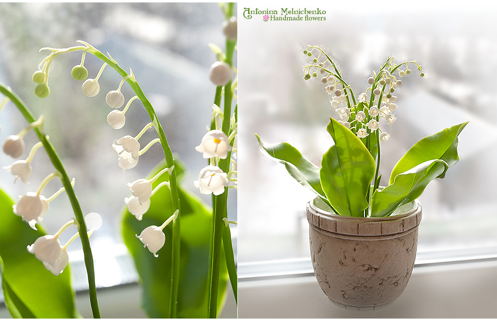 Lily of the valley - Polymer Clay Flowers by Vakhara