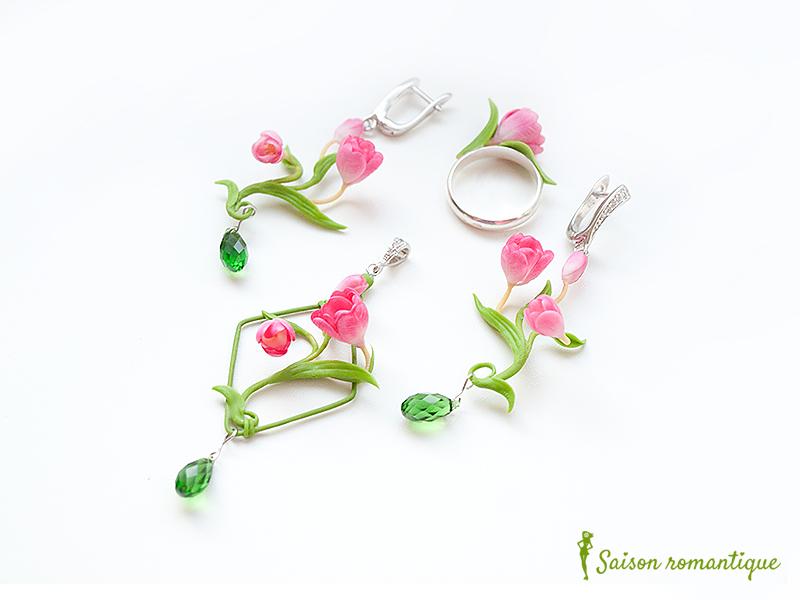 Set 'Spring Spirit' - Polymer Clay Flowers by Vakhara