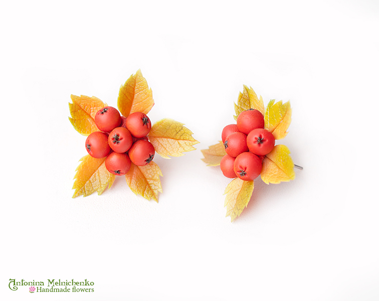 Earrings 'Rowan small' - Polymer Clay Flowers by Vakhara