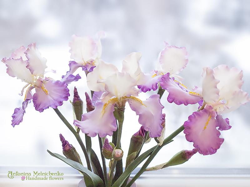 Irises - Polymer Clay Flowers by CraftFlowers