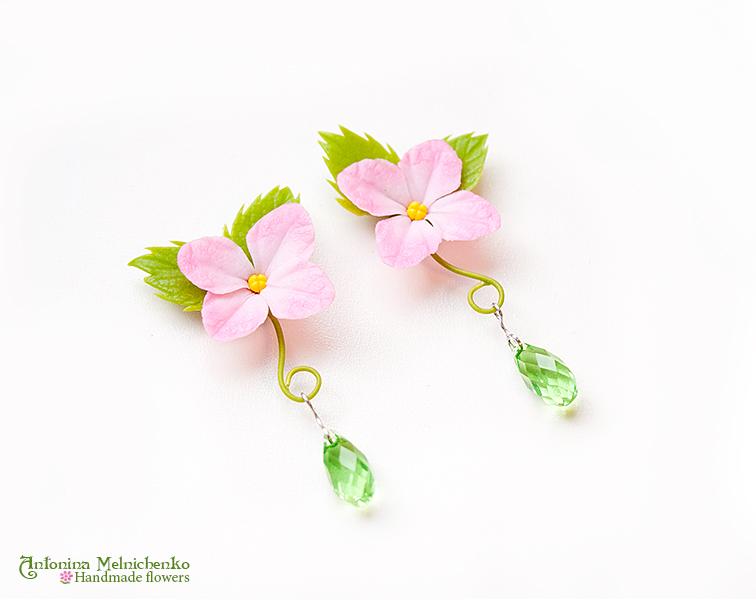 Earrings 'Hydrangea' - Polymer Clay Flowers by Vakhara