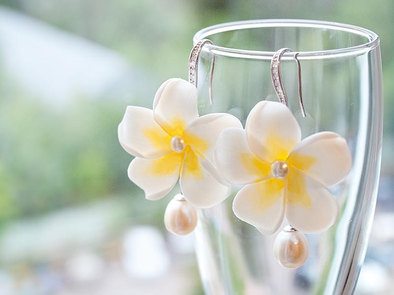 Earrings 'Plumeria' - Polymer Clay Flowers by Vakhara