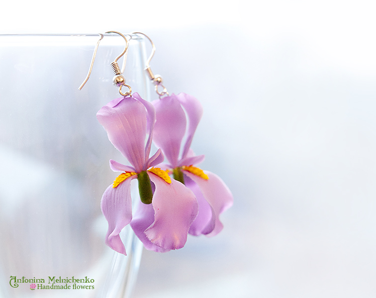 Earrings 'Iris' - Polymer Clay Flowers by CraftFlowers