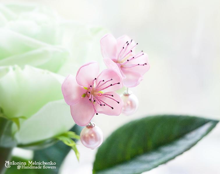 Earrings 'Peach Flowers' - Polymer Clay Flowers by CraftFlowers