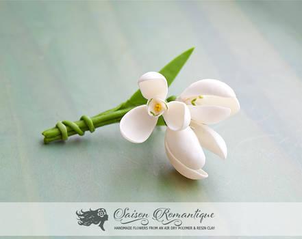Brooch Snowdrops -  Polymer Clay Flowers
