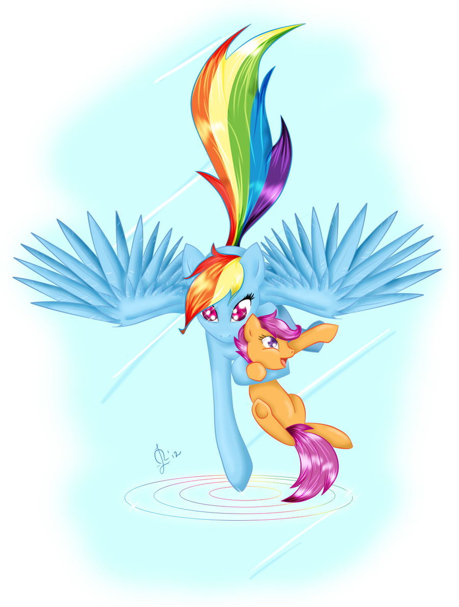 Flying with Rainbow by AxelSmile