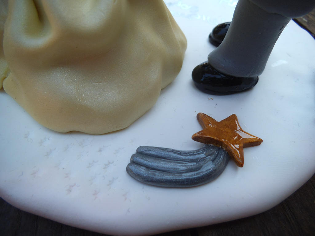 Fimo Wedding Cake Topper Shooting Star Detail By