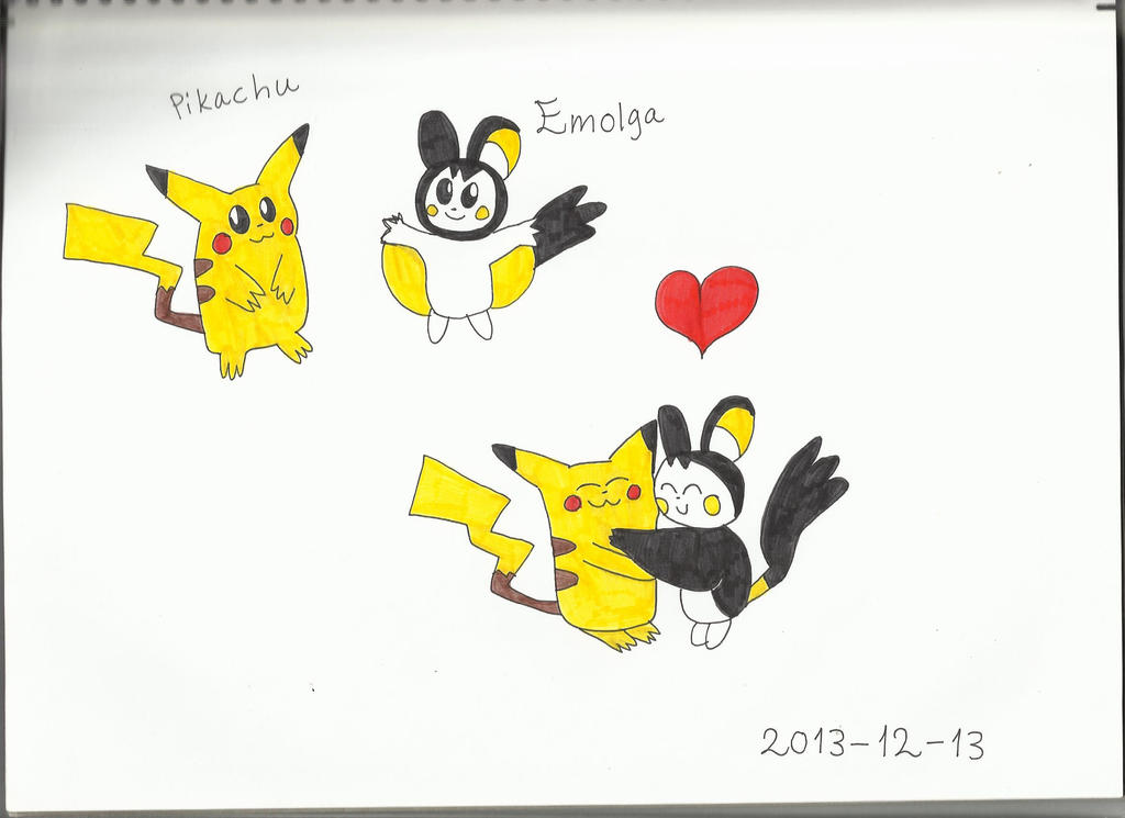 Pikachu and Emolga by KatarinaTheCat on DeviantArt