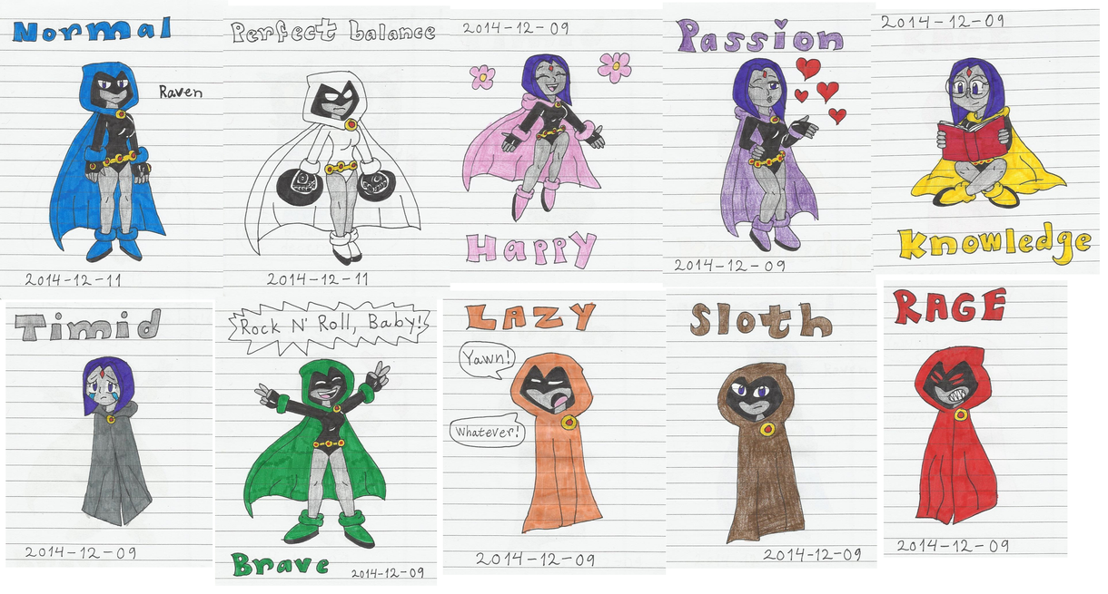 Raven and her Emoticlones by KatarinaTheCat