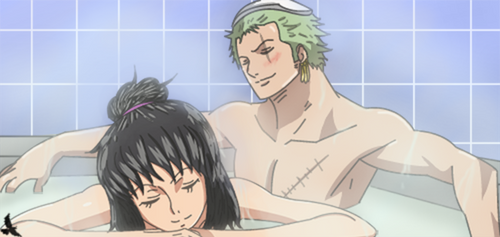 One Piece OC .:. Zoro X Heba .:. = Bath = by Heba-Asawa