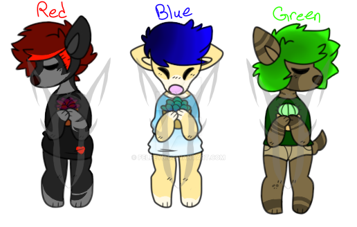 Red-Blue-Green Doggos [OPEN 3/3] by FelFeyn
