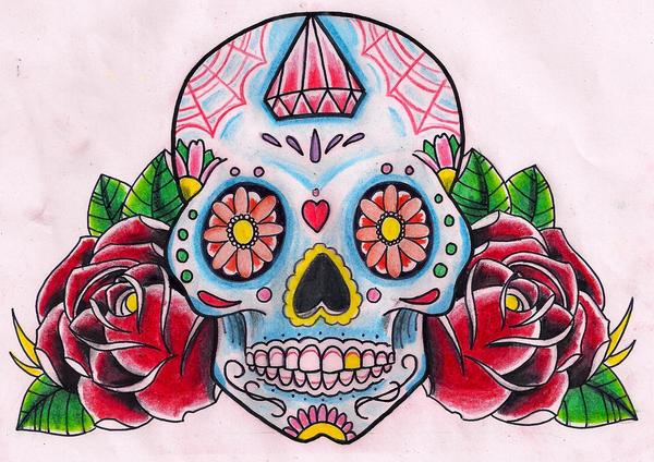 sugar skull roses by kirzten