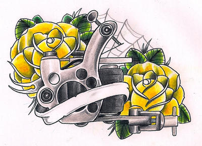 Traditional tattoo machine drawing