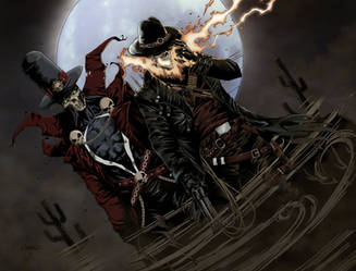 Gunslinger Spawn And Western Ghost Rider - Color