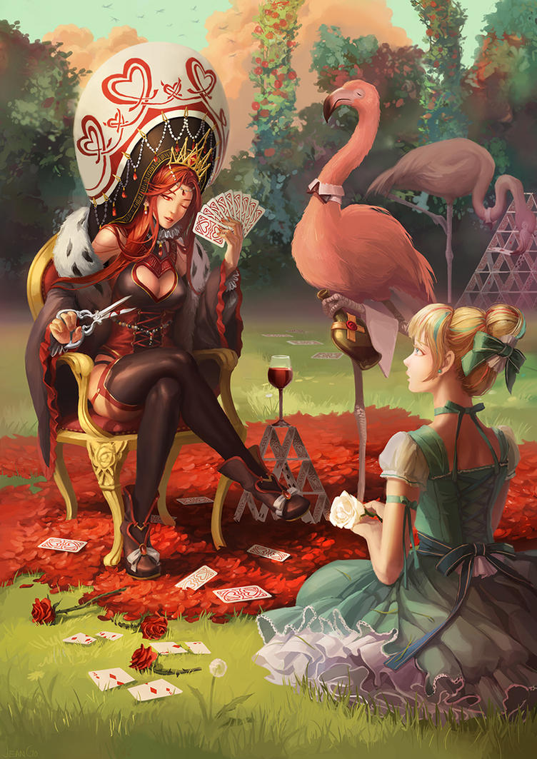 Alice and Queen of the Hearts by miasus