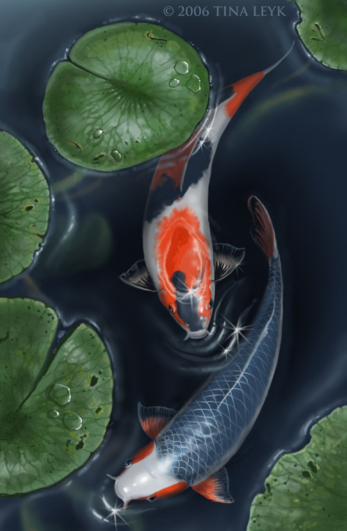 Koi pond by jaxxblackfox on deviantart for Japanese koi carp paintings