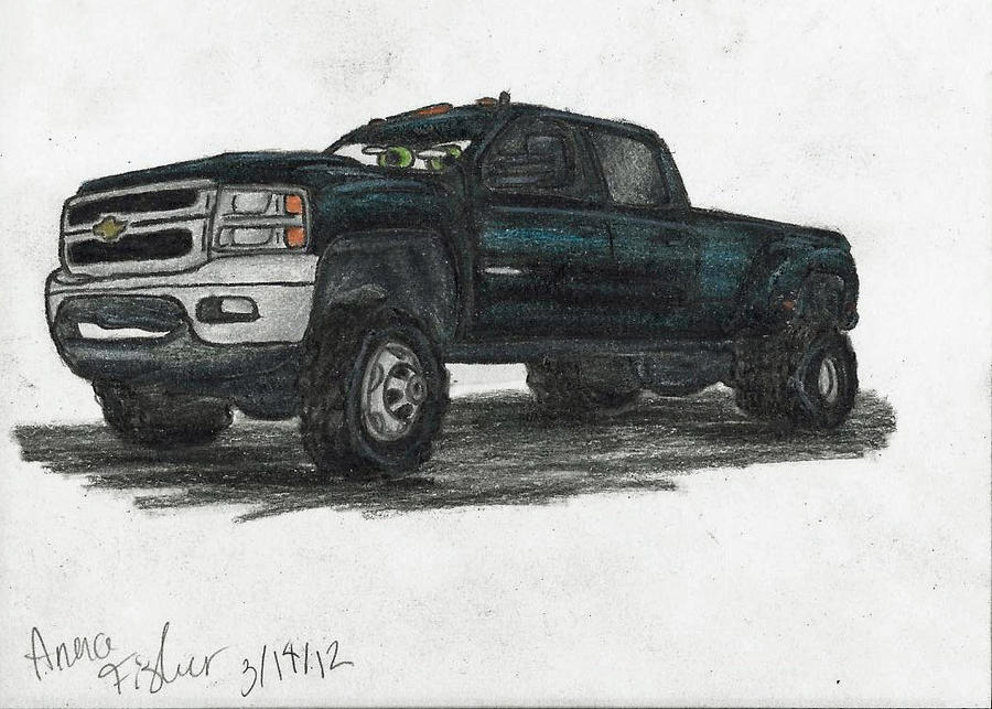 lifted ford truck drawing