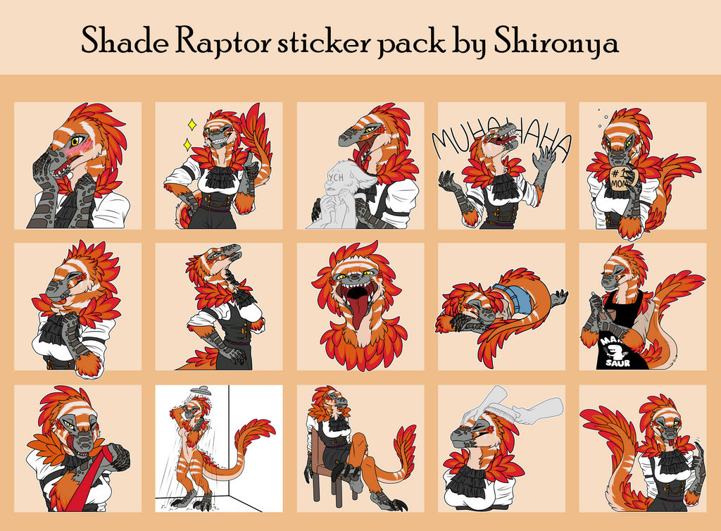 Shade Raptor Telegram sticker pack (Re-submit) by Shironya97 on