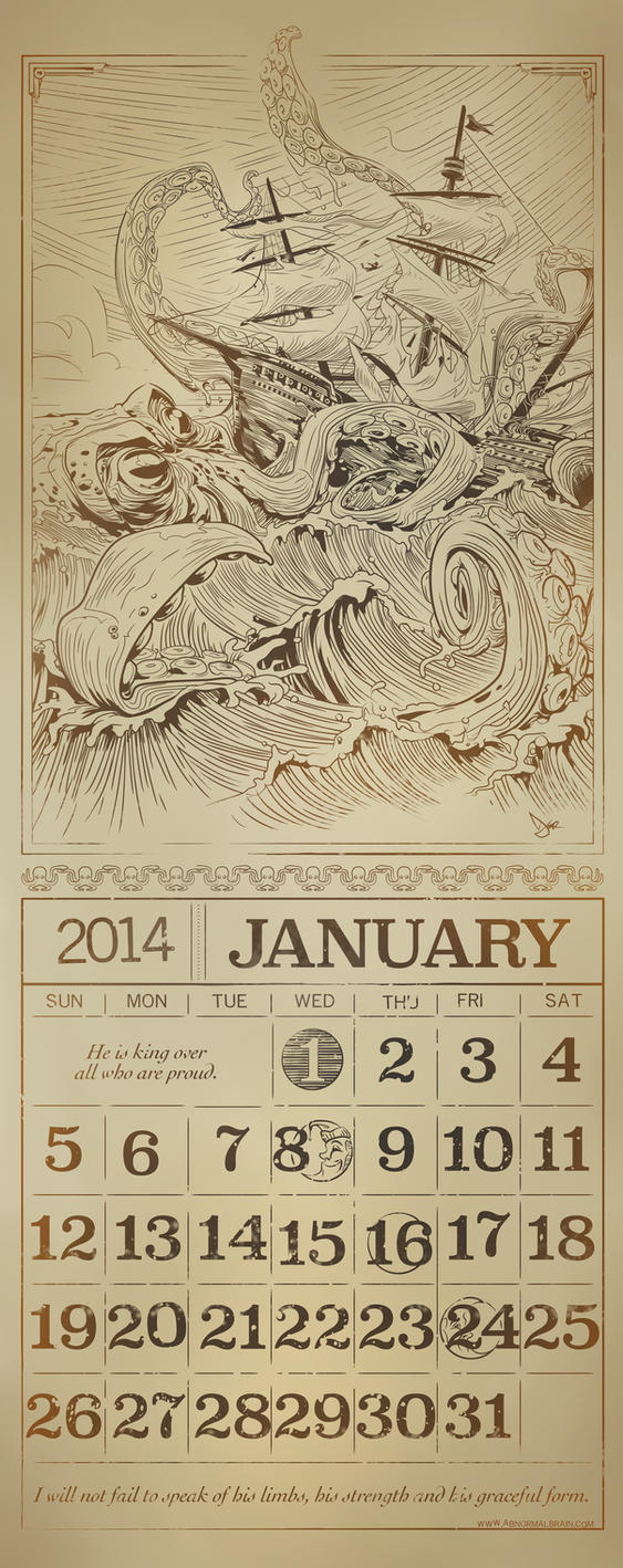 Kraken calendar page by abnormalbrain