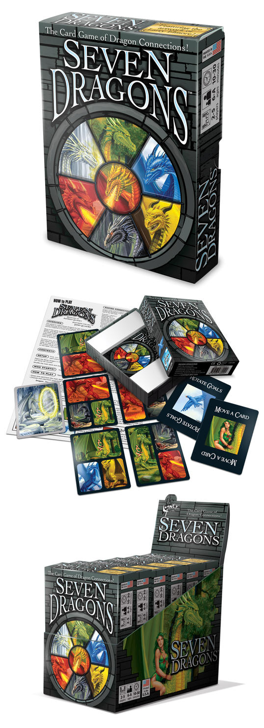 7 Dragons card game packaging by abnormalbrain