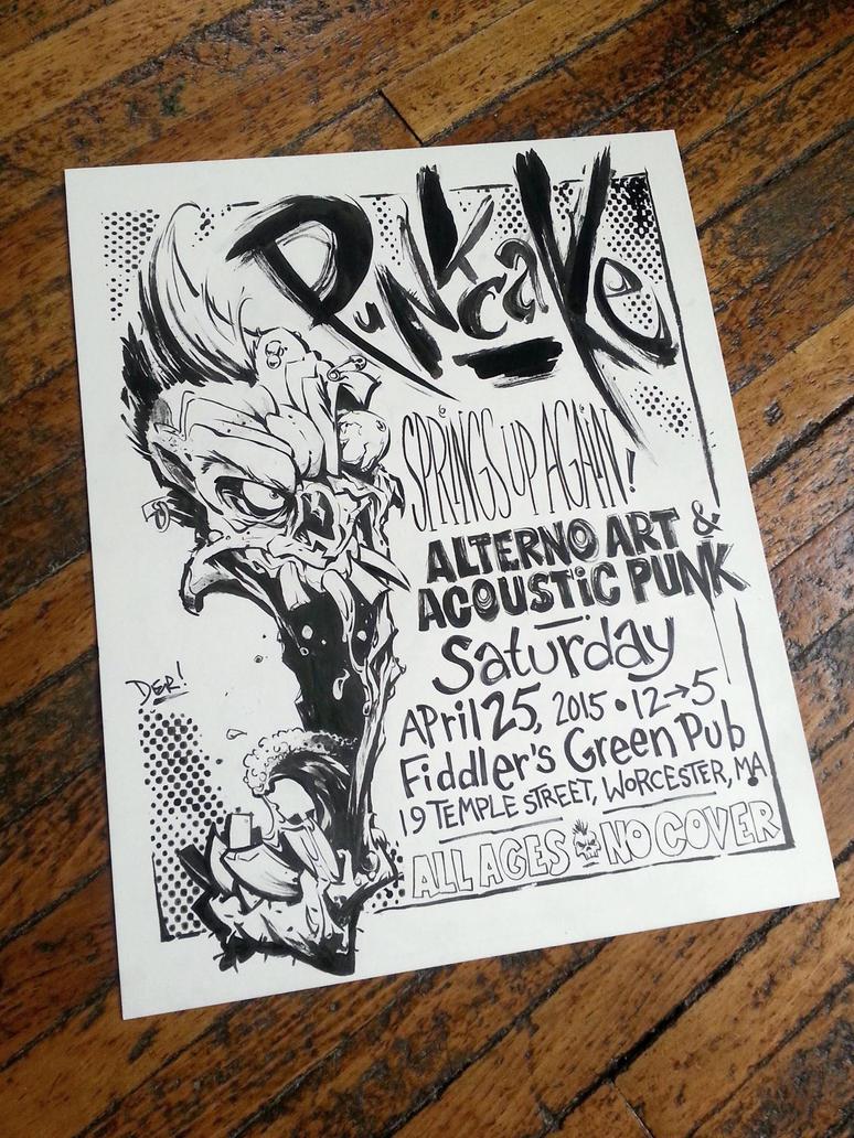 Punkcake Flyer, ink on board by abnormalbrain
