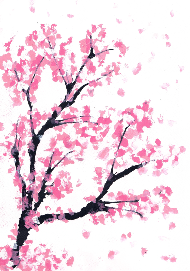 cherry blossom drawing - HD 900×1286